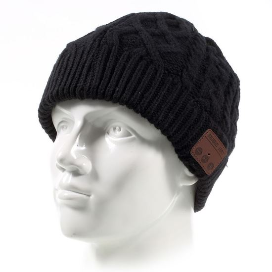 Picture of Winter Outdoor Bluetooth Wireless Smart Beanie Knit Headphone Speaker Music Hat with Mic -Black