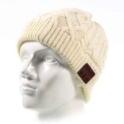 Picture of Outdoor Bluetooth Wireless Smart Beanie Knit Headphone Speaker Music Hat with Mic for Winter Use - Beige
