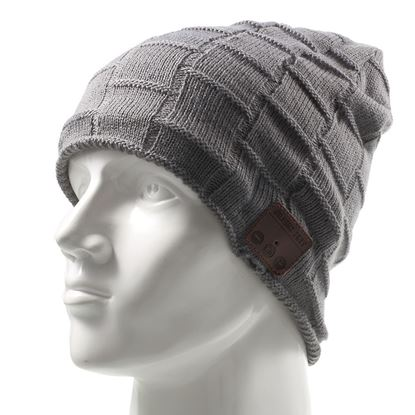 Picture of Grid Pattern Knitted Winter Warm Hat Cap Built-in Wireless Bluetooth Headphone & Microphone - Dark Grey