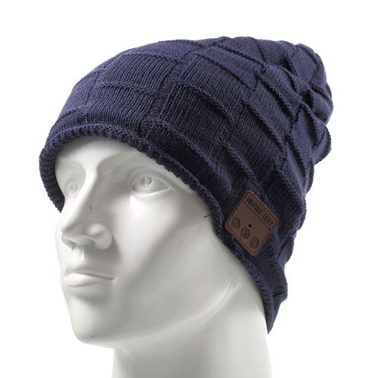 Picture of Grid Pattern Winter Warm Knitted Hat Built-in Wireless Bluetooth Headphone & Microphone - Dark Blue