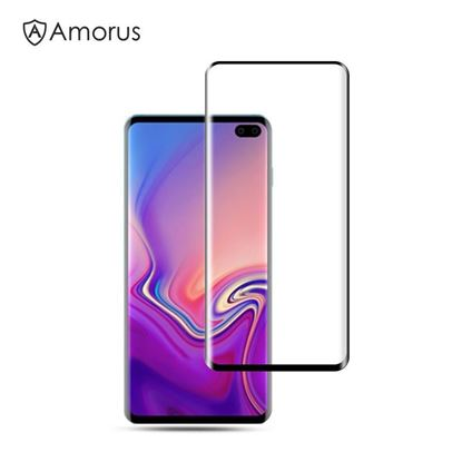 Picture of AMORUS for Samsung Galaxy S10 [3D Curved Full Cover] Tempered Glass Screen Protector (Case-Friendly Scaled-Down Version)