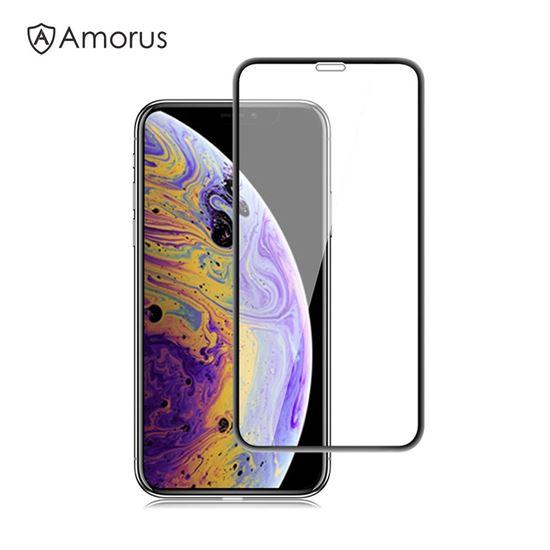 Picture of AMORUS 3D Curved Anti-explosion Tempered Glass Full Screen Protector for iPhone XS Max 6.5 inch - Black