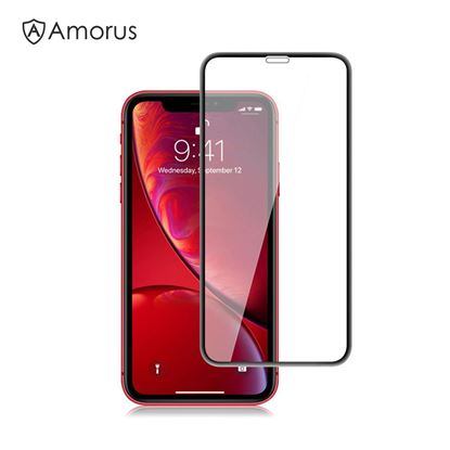 Picture of AMORUS 3D Curved Tempered Glass Full Screen Protector for iPhone XR 6.1 inch - Black