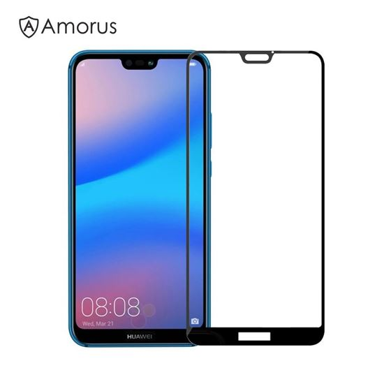 Picture of AMORUS for Huawei P20 Lite/Nova 3e Clear Silk Print Complete Cover Tempered Glass Screen Protection Film