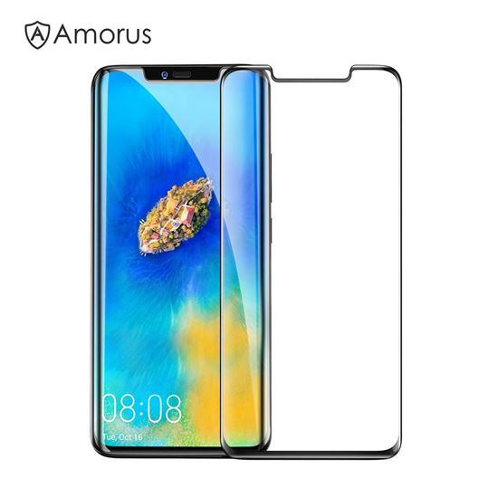 Picture of AMORUS for Huawei Mate 20 Pro 3D Curved Tempered Glass Full Screen Covering Protector (Scaled-Down Version) - Black