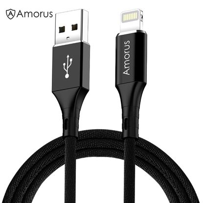 Picture of AMORUS 2.4A Aluminium Alloy Nylon Braided Lightning 8Pin Charging Data Cable for iPhone iPad iPod - Black