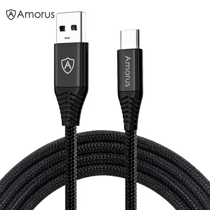 Picture of AMORUS 1.2m Nylon Braided USB A 3.0 to USB-C Fast Charging Data Sync Cable for Samsung Xiaomi Nintendo Switch
