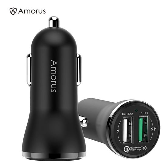 Picture of AMORUS CC-37 2.4A + QC3.0 Quick Charge Car Charger
