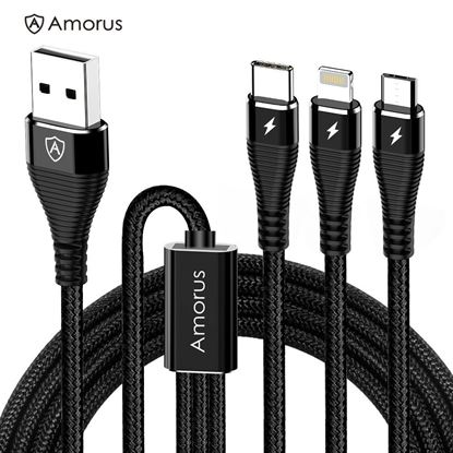 Picture of AMORUS 1.2m 3-in-1 Lightning 8 Pin + Micro USB + Type-C Charge Cable - Black