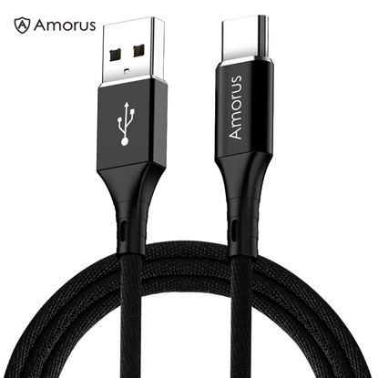 Picture of AMORUS 2A Aluminium Alloy Nylon Braided Type-C Charging Data Cable - Black